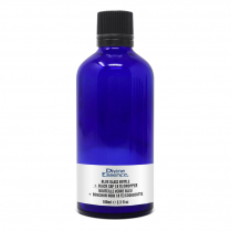 Bouteille Verre Bleu 100 ml + Bouchon noir 18 TE/Codigoutte